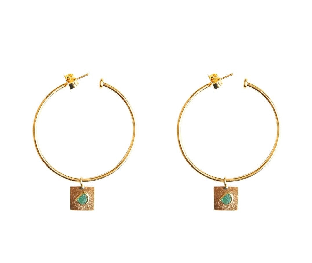 Basic Square Raw Emerald Bronze & 24k Gold Plated Earrings