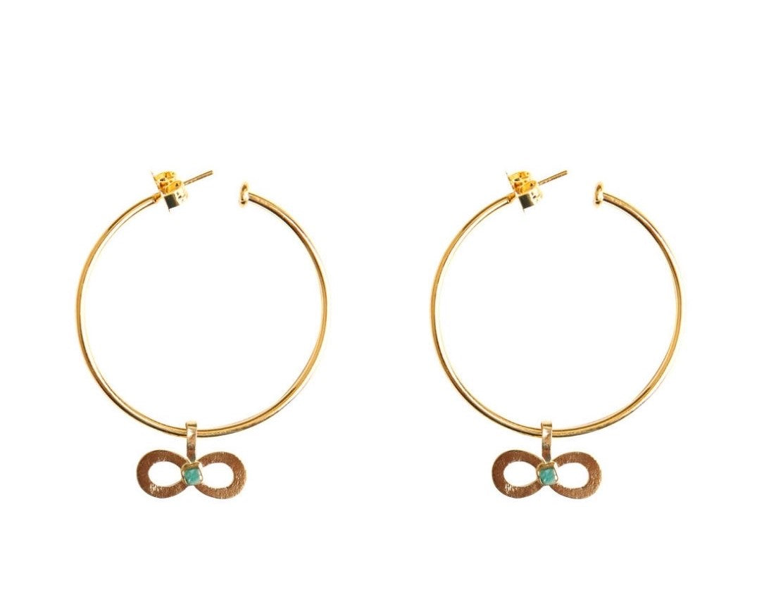 Basic Infinite Raw Emerald Bronze & 24k Gold Plated Earrings
