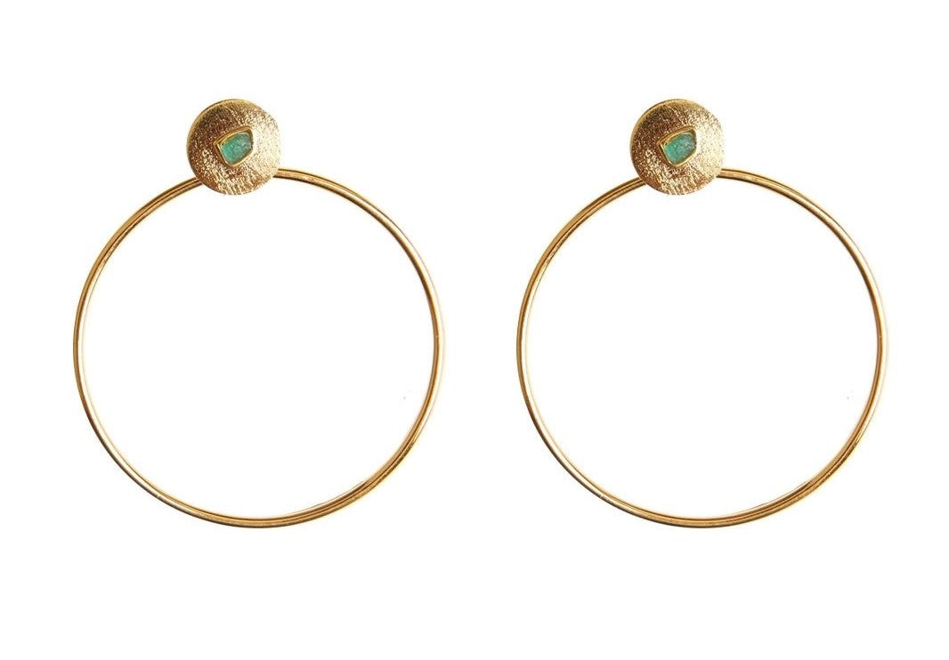 Simple Circle 2 in 1 Raw Emerald Bronze & 24k Gold Plated Earrings