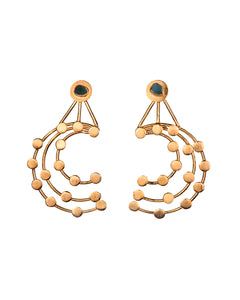 Laura Constellations Collection 2 In 1 XL 24k Gold Plated and Bronze Earrings - TAO Company Jewelry
