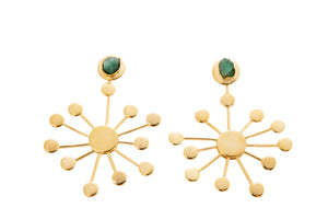 Margarita Raw Emerald Bronze & 24k Gold Plated Earrings