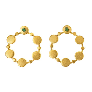 Sophia Raw Emerald Bronze & 24k Gold Plated Earrings