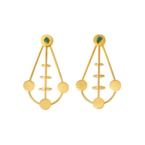 Antonia Raw Emerald Bronze & 24k Gold Plated Earrings