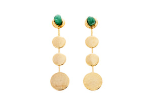 Tania Raw Emerald Bronze & 24k Gold Plated Earrings