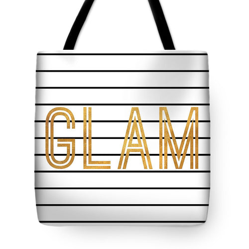 Glam Pinstripe Gold Tote Bag