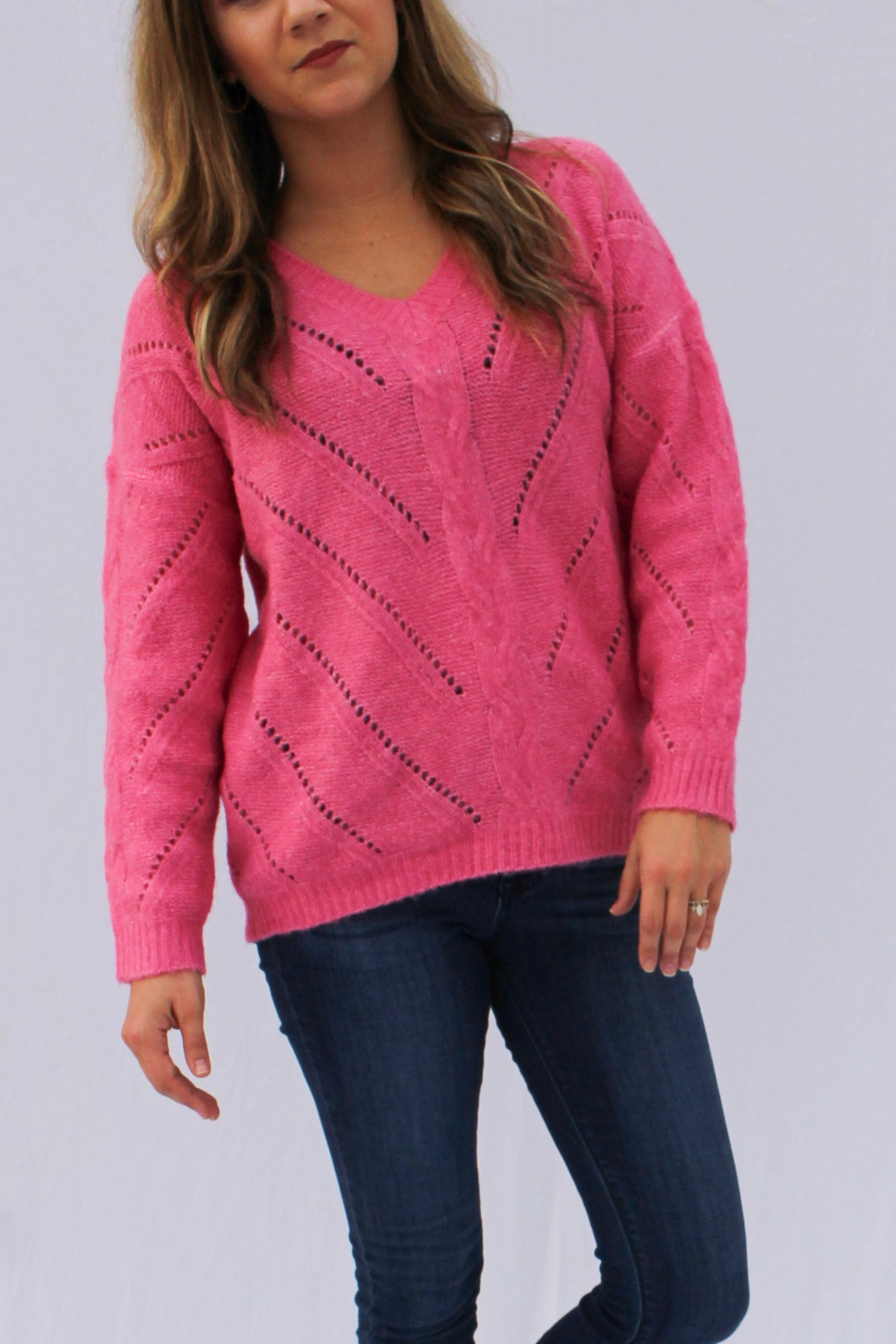 Pink Crochet Sweater