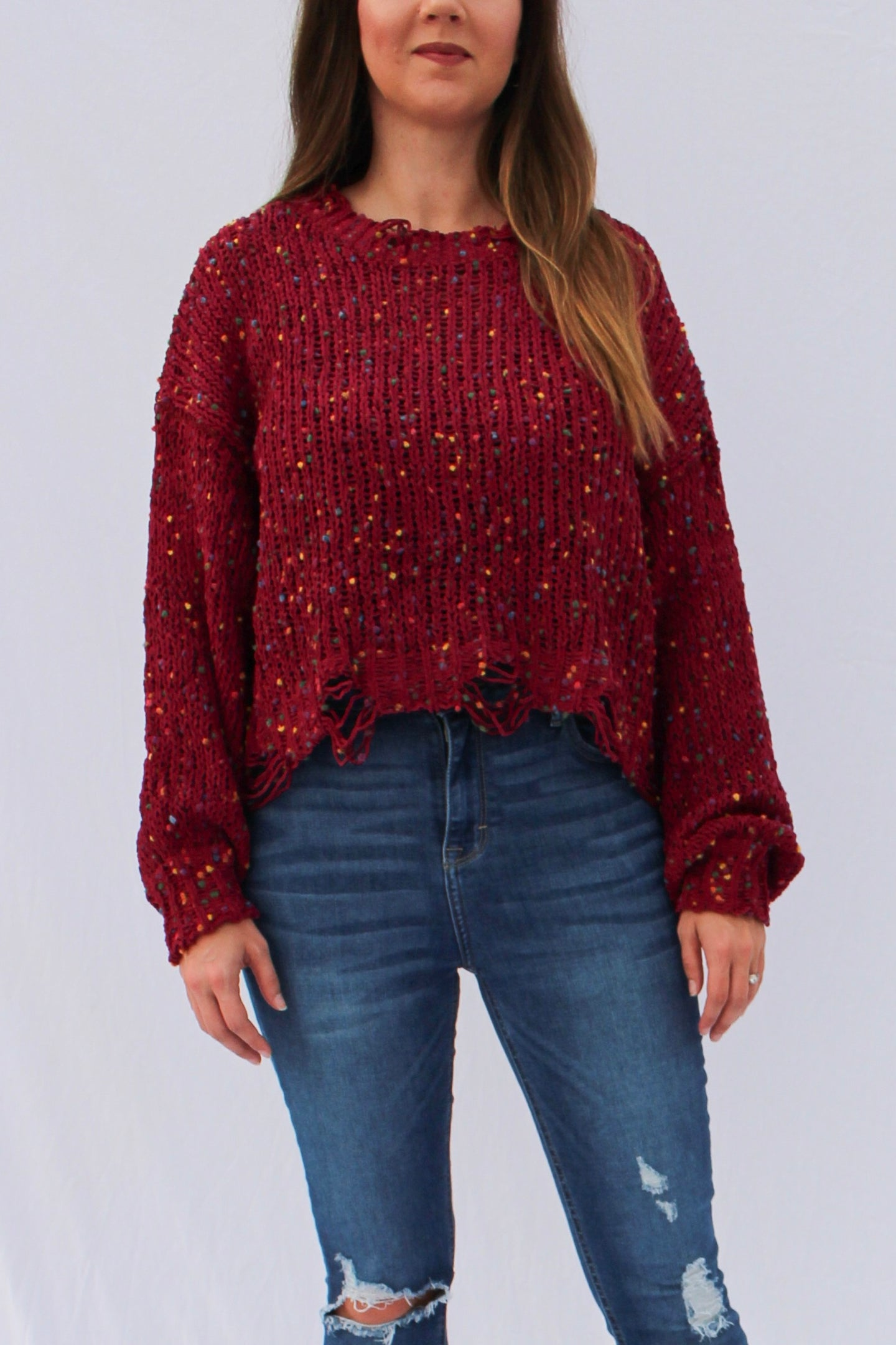Distressed Confetti Sweater Burgundy