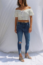 Lace Up Eyelet Crop Top