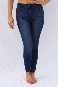 High Rise Raw Hem Jeans