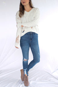 Distressed Ivory Sweater