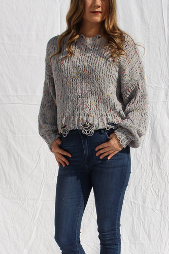 Distressed Confetti Sweater Grey