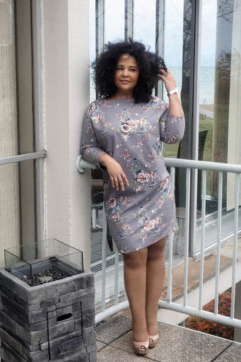 Plus-Size Grey Floral Fitted Dress (Allure)