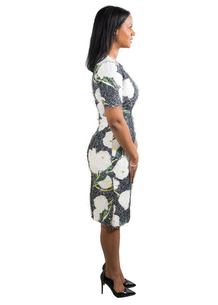 Grey Floral Textured Sheath Midi Dress