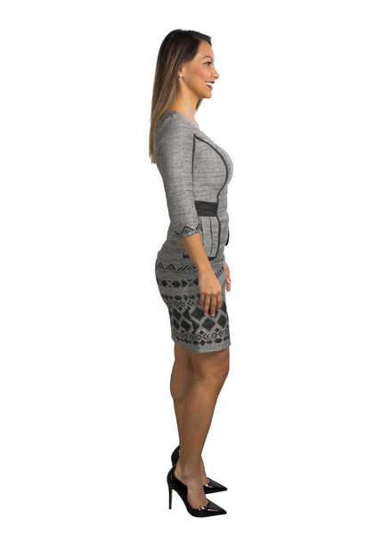 Grey and Black Peplum A-Line Dress