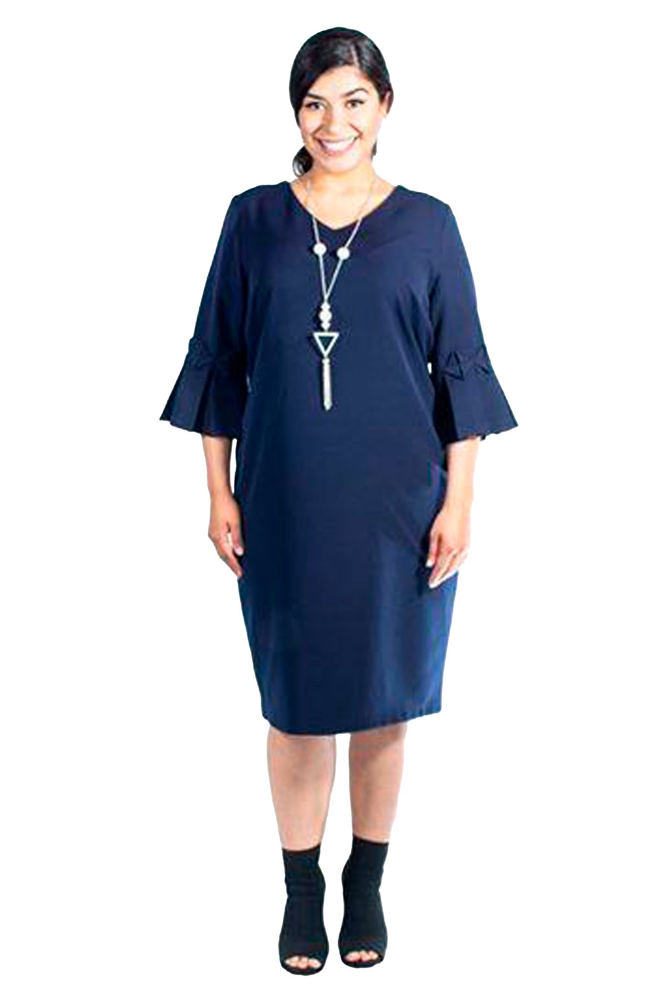 Plus-Size Navy Bell-Sleeve Sheath Dress (Derby Day)