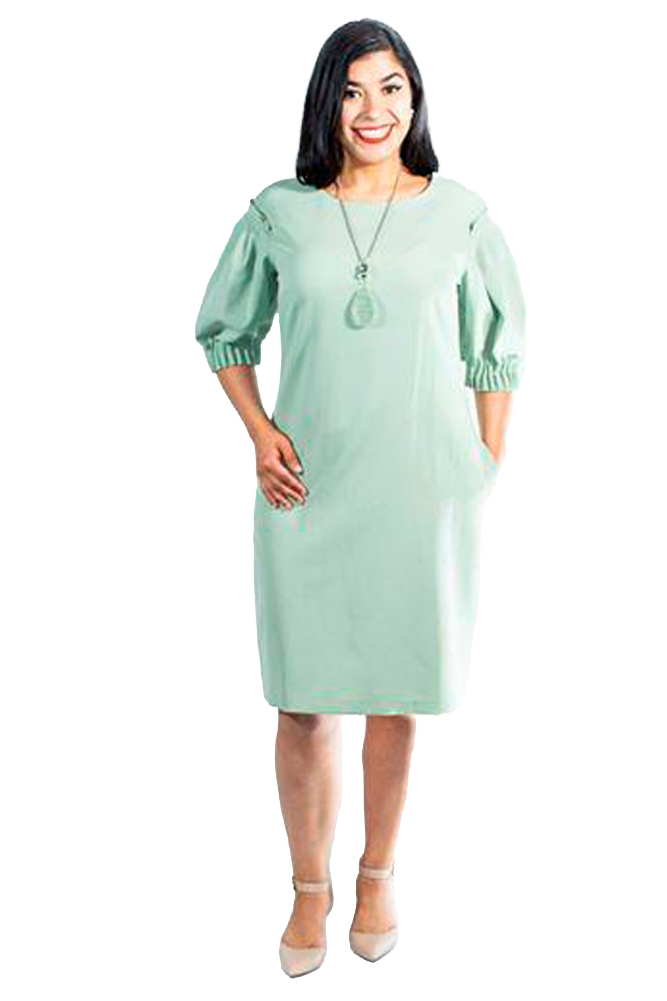 Plus Size Mint Green Bishop Sleeve Dress (Dianthus)