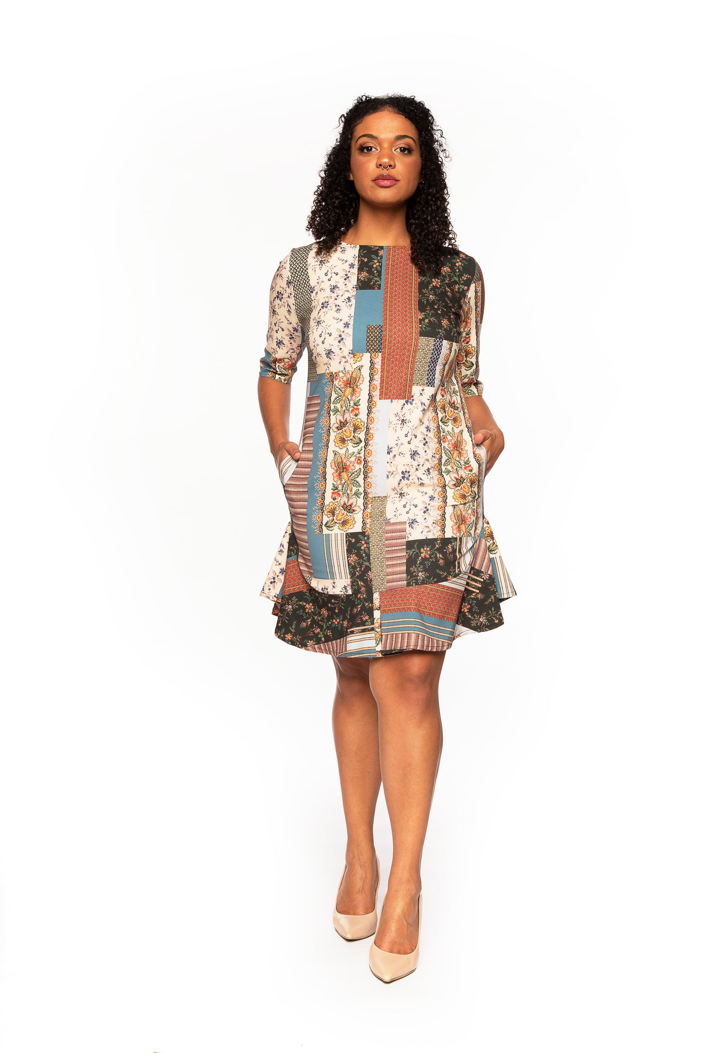 Patchwork Printed A-Line Cocktail Dress