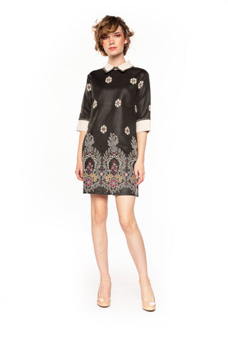 Black Floral Printed Collared Shift Dress