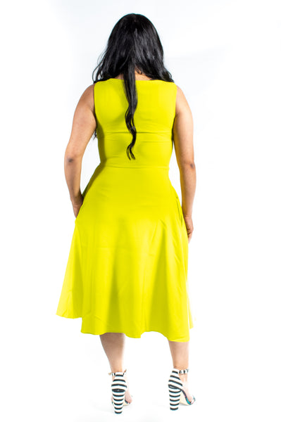Lime green Sleeveless Fit and Flare Midi Dress