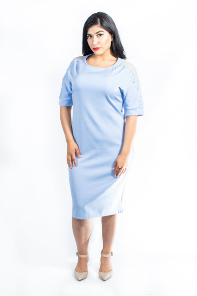 Plus-Size Light Blue Knee-Length Dress (Peekaboo)