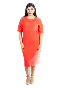 Plus-Size Orange Knee-Length Dress (Peekaboo)