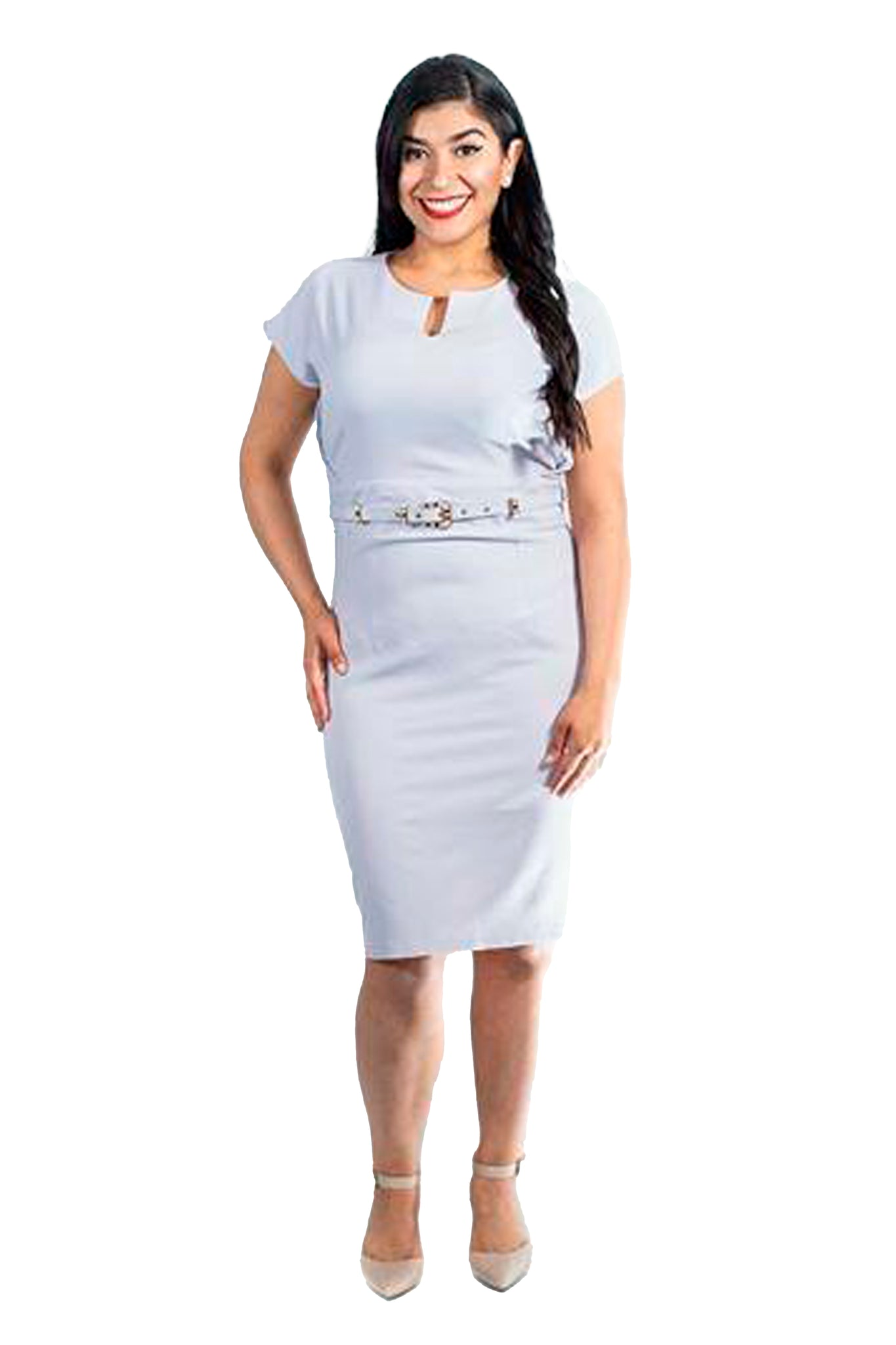 Plus Size Fitted Pencil Dress with Belted Waist
