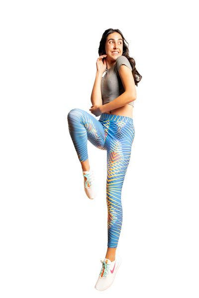 High Waisted Light Blue Printed Workout Leggings