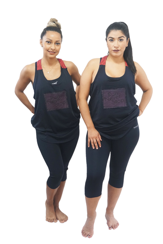 'Run Never Stop' 3-Piece Black Workout Outfit
