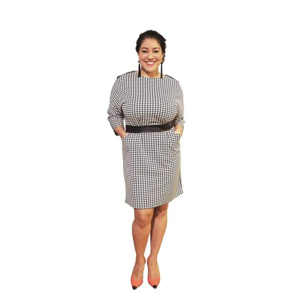 Plus-Size Black and White Checkered Above the Knee Dress (Vivacious) - Dress 2 Dazzle