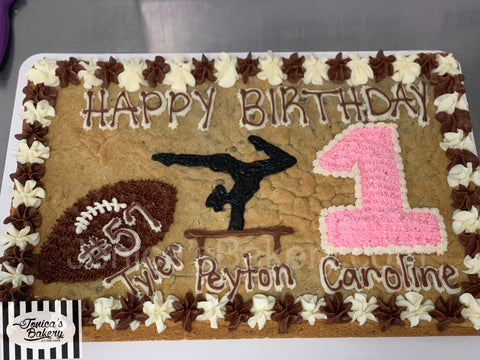 Cookie Cake -Football, Gymnastics, First Birthday