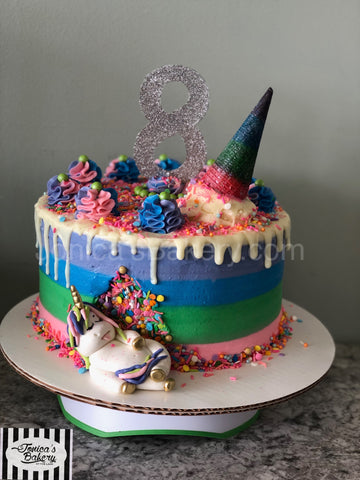Hungry Unicorn Striped Cake