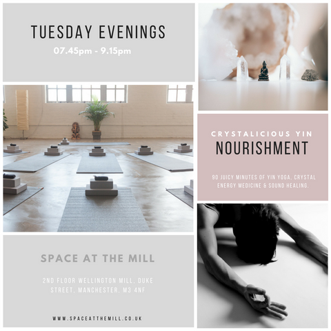 Yin yoga and crystal energy healing in Manchester: Space at the Mill