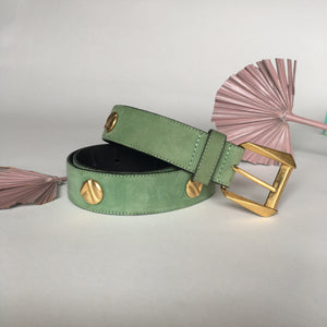 Vintage Green Suede Designer Laurel Belt