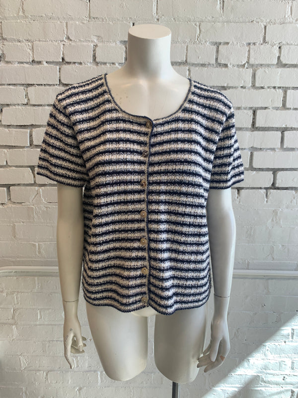 Vintage Navy Striped Cotton Knit Top (L)