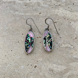 Vintage Sterling Mosaic Shell Earrings