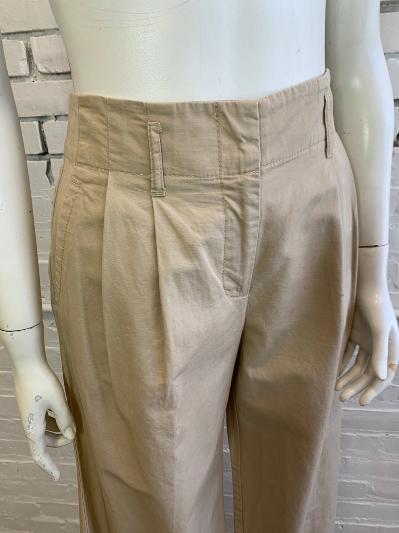 Vintage Tan Cotton Wide-Leg Pleated Trousers (S)
