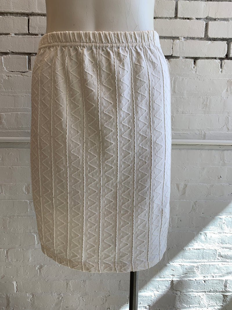 Vintage Ivory Cotton Knit Skirt (S)