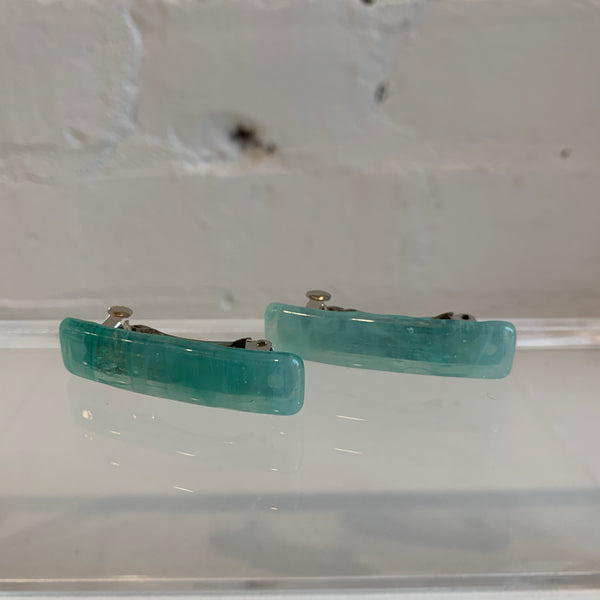 Small Glass Hair Clip Pair - Aqua