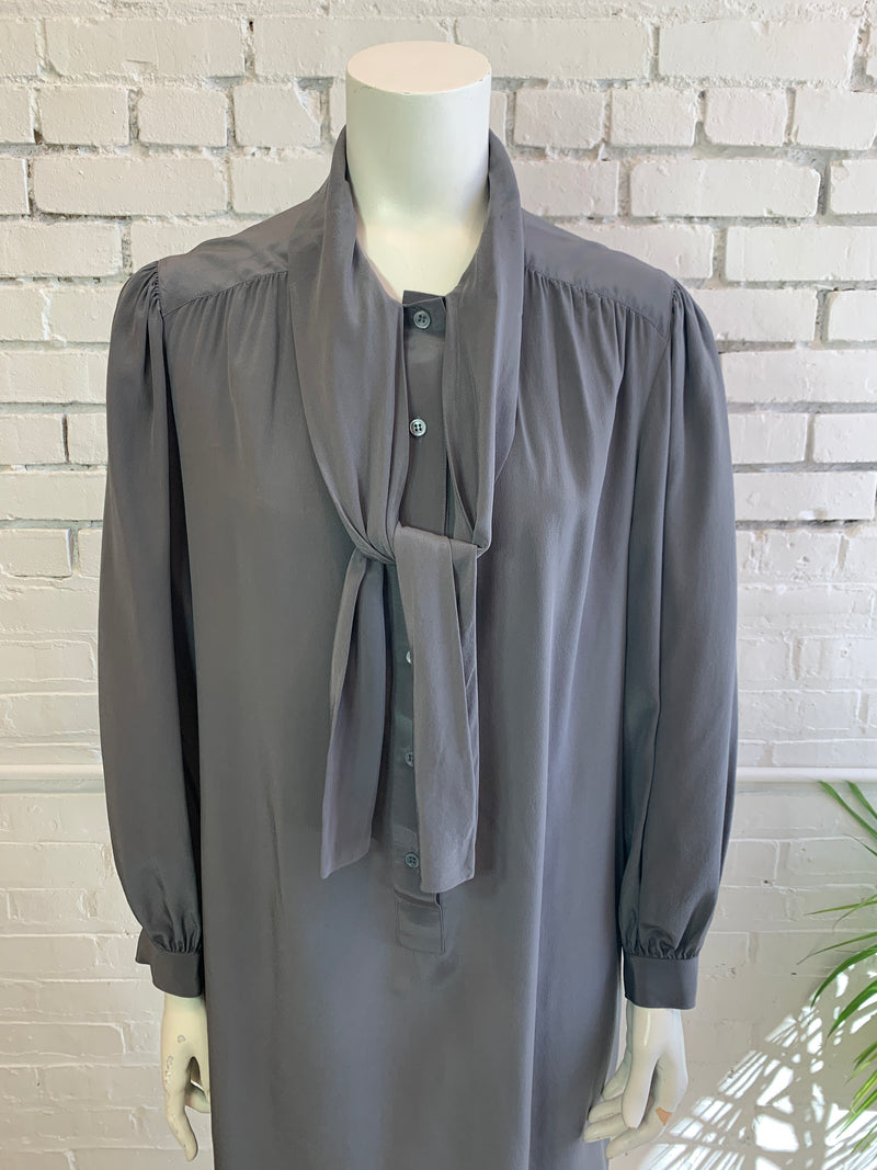 Vintage Grey Silk Necktie Dress(M, L)