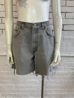 Vintage Faded Grey Cut Off Denim Shorts (L)
