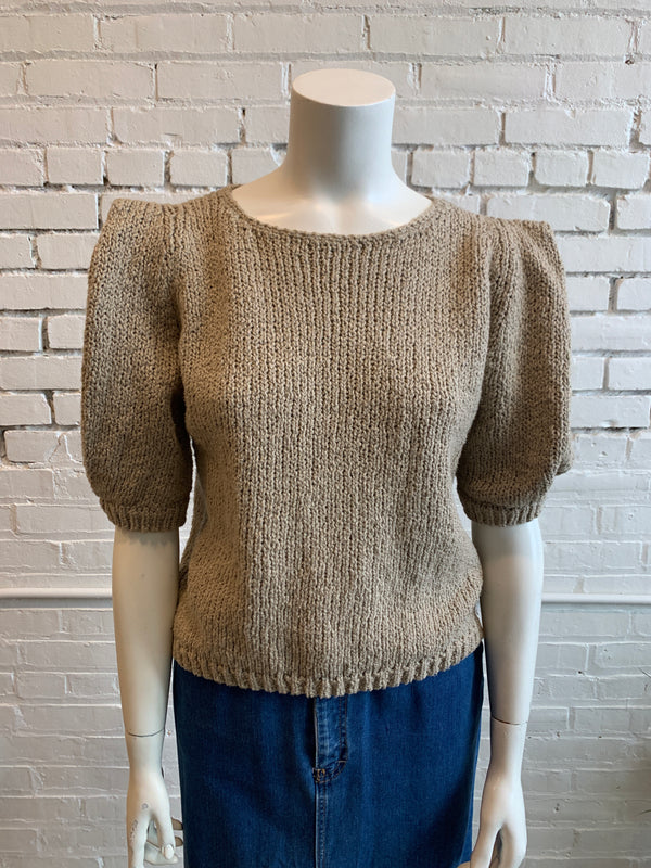 Vintage Pleated Shoulder Knit Blouse