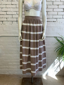 Vintage Striped Brown Long Skirt (XS, S)