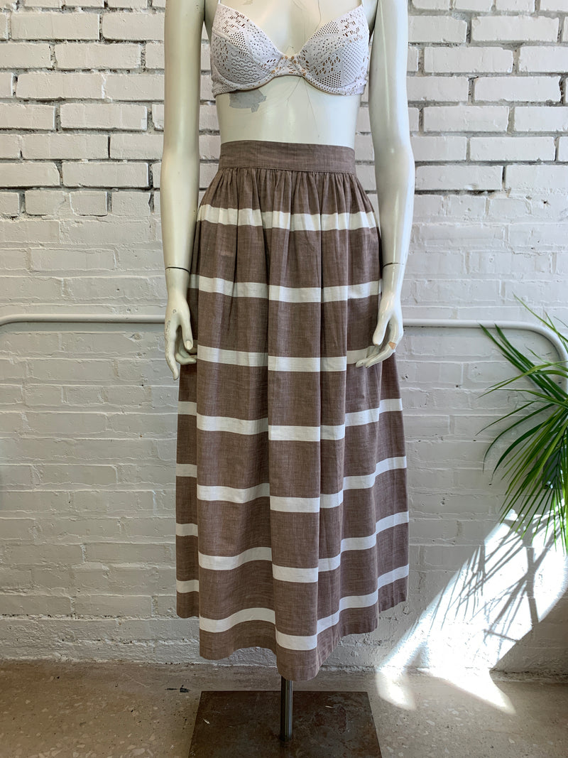 RESERVED -- Vintage Striped Brown Long Skirt (XS, S)