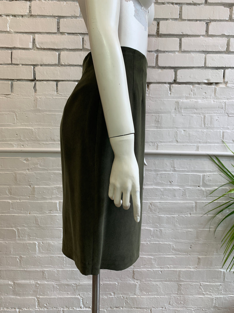 Vintage Olive Silk High-Rise Pencil Skirt