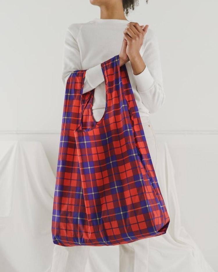 Big Baggu Reusable Bag - Red Tartan