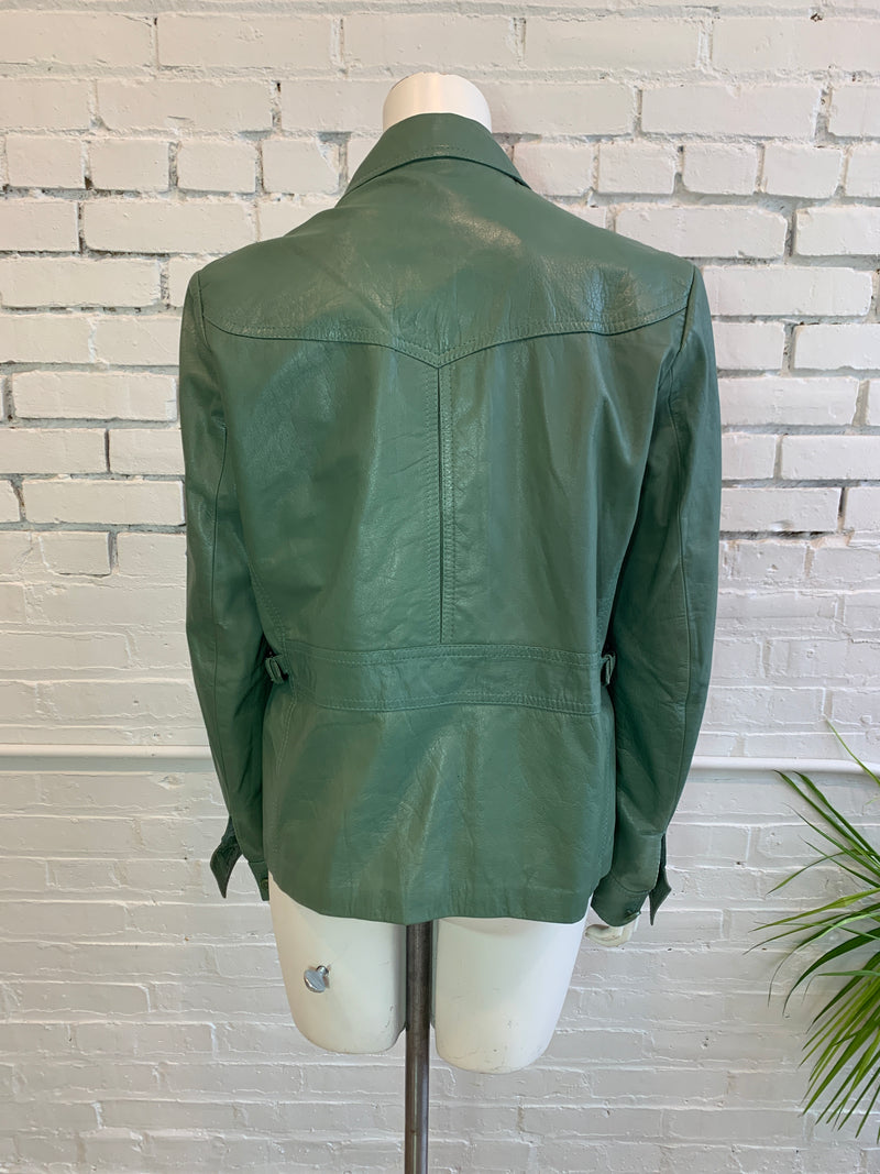 Vintage Unisex Green Leather Basket Weave Coat (S,M, L)