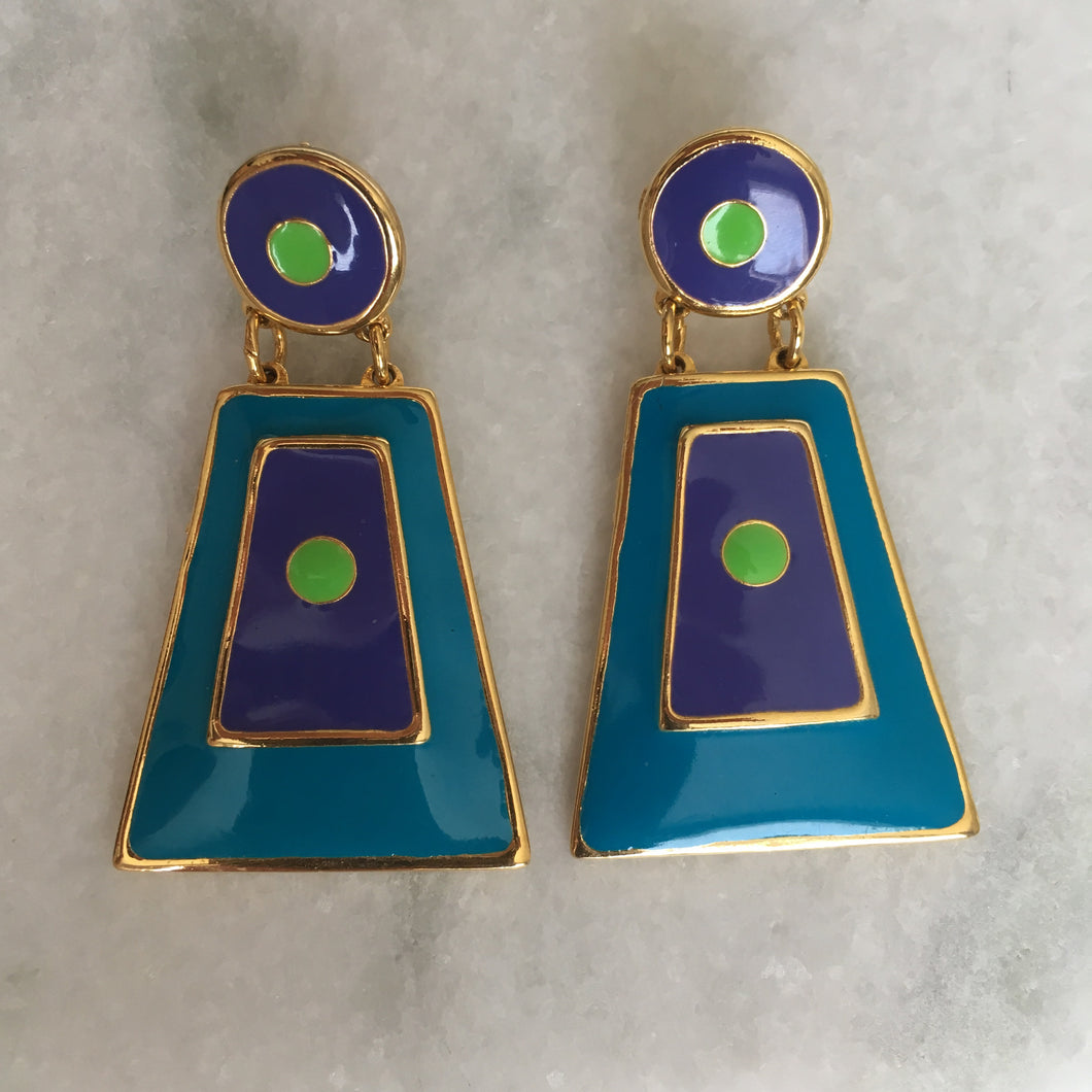 Vintage Edgar Berebi Geometric Shape Earrings