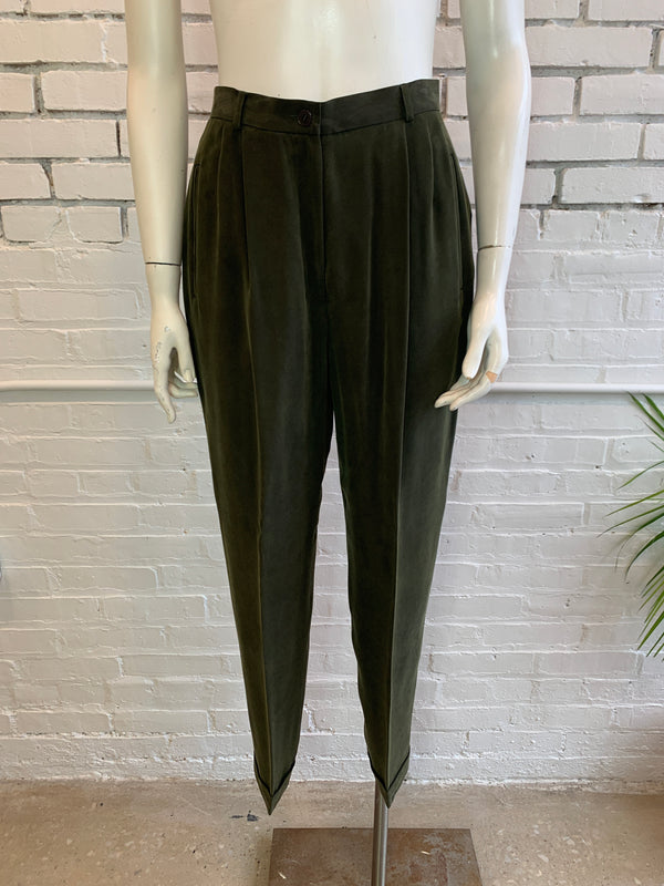 Vintage Olive Silk Pleated Trousers (S)