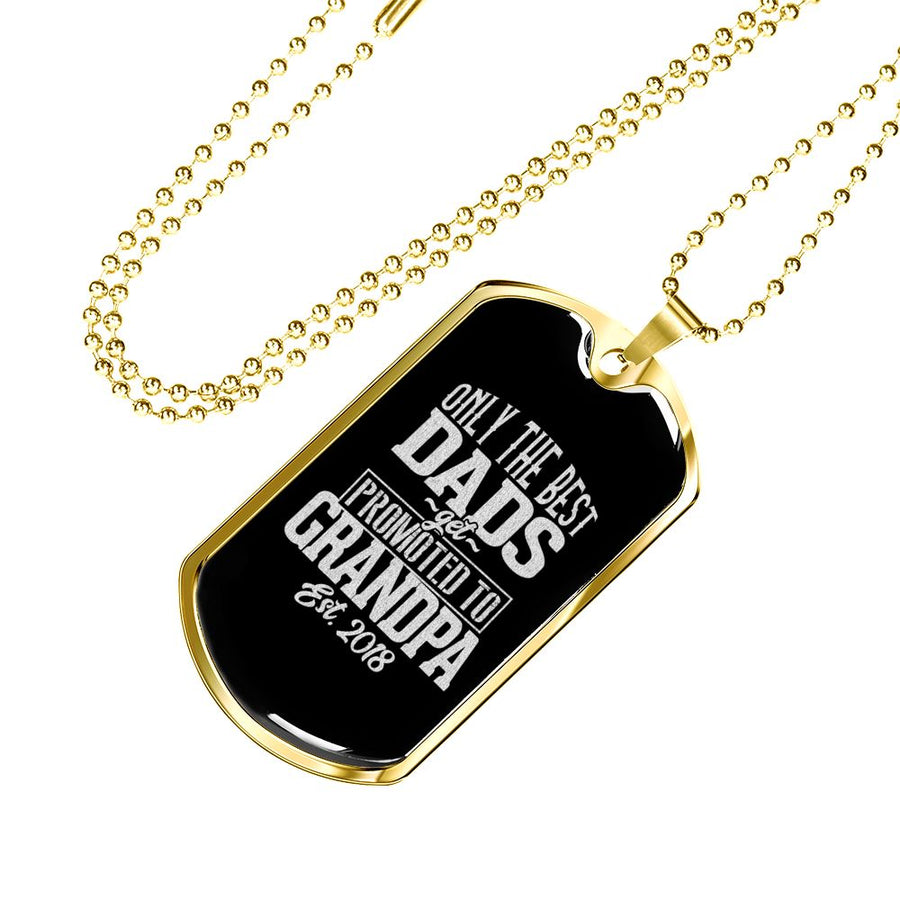 Promoted to Grandpa - Luxury Military Dog Tag