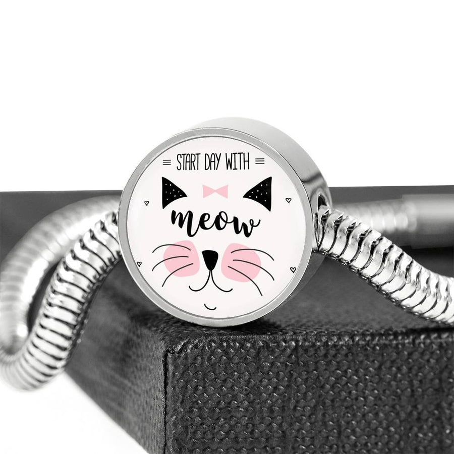 Start Day With Meow - Steel Bracelet